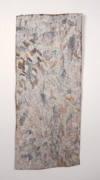 Nyapanyapa Yunupingu 12. Untitled, 2013; 4332R; natural earth pigments on bark; 147 x 63 cm; enquire