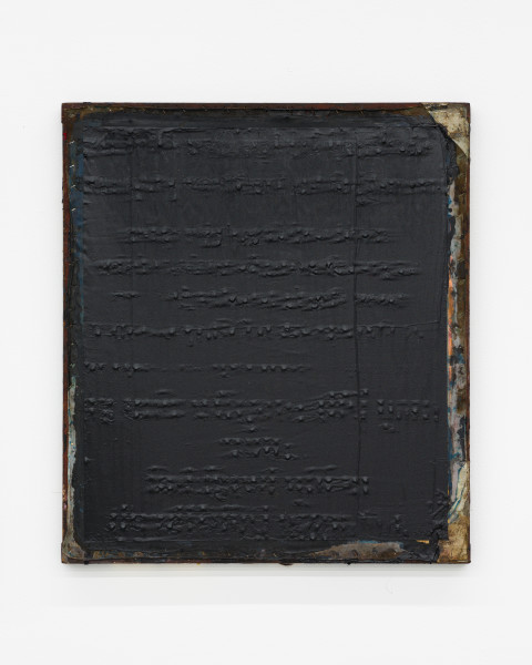Kirtika Kain The Solar Line XXVI, 2020; Tar, silicon carbide, cardboard, tape, disused silkscreen; 67 x 58 cm; enquire