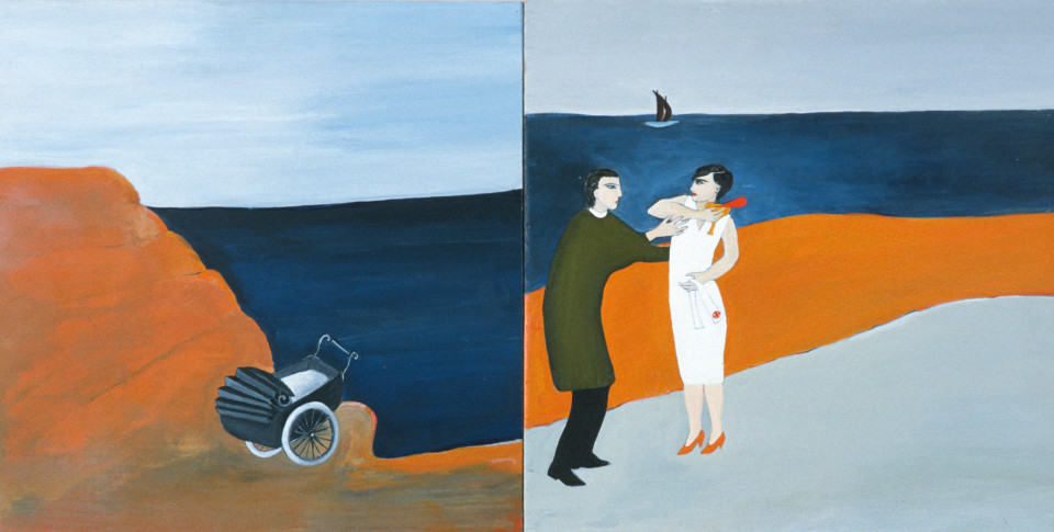 Vivienne Shark LeWitt The Making of Leopold, 1984; acrylic on wood, 2 panels; 56 x 28 cm; enquire