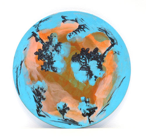 Tony Clark Landscape, 2005; acrylic and permanent ink on canvasboard; 18 cm diameter; enquire
