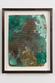 installation view; Kirtika Kain foglio II, 2019; natural oxidation, pigment, charcoal, gold leaf on copper; 28 x 22 cm; enquire