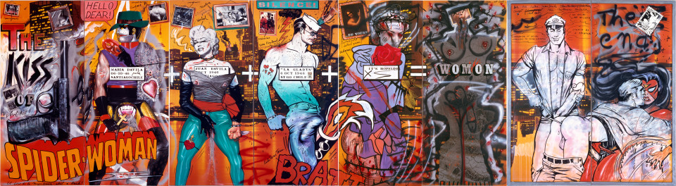 Juan Davila and Harry Georgeson Stupid As A Painter, 1981; acrylic and collage on photographic mural; 213 x 772 cm; enquire