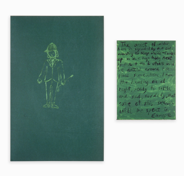 Jenny Watson Girl Rider, 1994; Oil on cotton & acrylic on stretcher; 111 x 72cm; 61 x 46cm; enquire