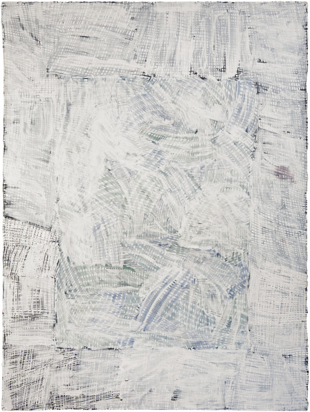 Nyapanyapa Yunupingu Djorra (paper) 19, 2014; TPA124; felt tip pen, earth pigments on discarded print proofs; 75 x 56 cm; Enquire
