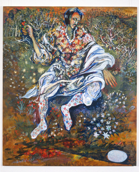 Victor Rubin Zephyr carrying Succubus with Flowers of Fear, 1989; oil on primed linen; 199 x 167.5 cm; enquire