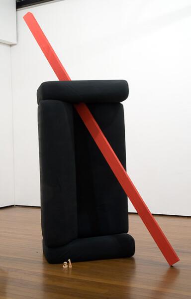 Mikala Dwyer 31, 2009; couch, wood, wine, books, paint; 260 x 170 x 70 cm; enquire