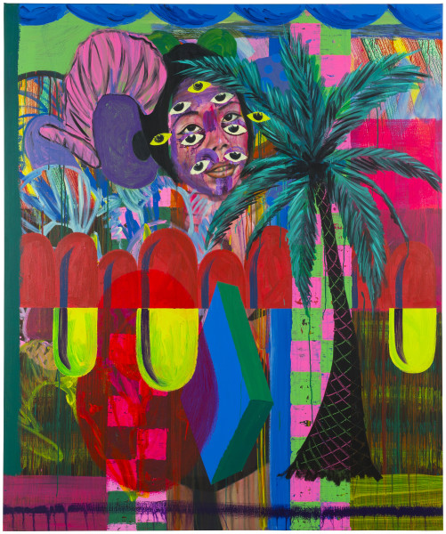 David Griggs Budda Bass Palmtree, 2017; acrylic on canvas; 183.5 x 152.5 cm; enquire