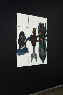 installation view; Pierre Mukeba (Cognitive Dissonance), 2021; charcoal and pastel on archival paper; 120 x 126 cm; enquire