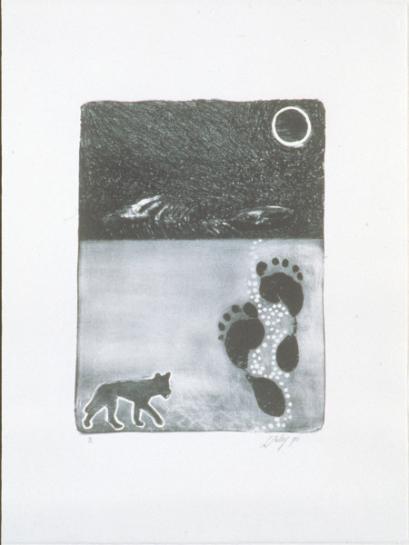 Fiona Foley Drifting Ephemerally, 1990; lithograph; 63 x 49 cm; Edition of 40; enquire
