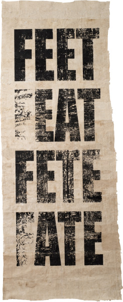 Newell Harry Untitled (FEET/FEAT/FETE/FATE), 2013; Tongan Ngatu (bark cloth), ink; 279 x 118 cm; Edition of 2 + AP 1; enquire