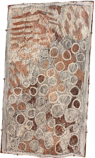 Nyapanyapa Yunupingu Pink and White Circle, 2011; 3942A; natural earth pigments on bark; 109 x 60 cm; enquire
