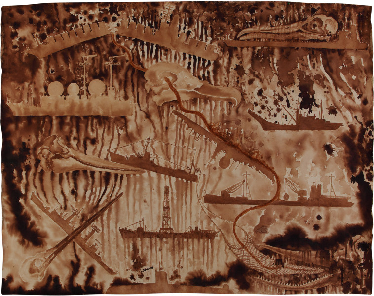 Fiona Hall Spill, 2011; Tongan tapa dye and Tongan ochre on canvas; 165 x 210 cm; enquire