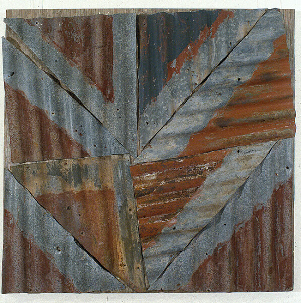 Rosalie Gascoigne Rose Red City #6, 1992-93; corrugated iron on wood; 150 x 150 cm; enquire