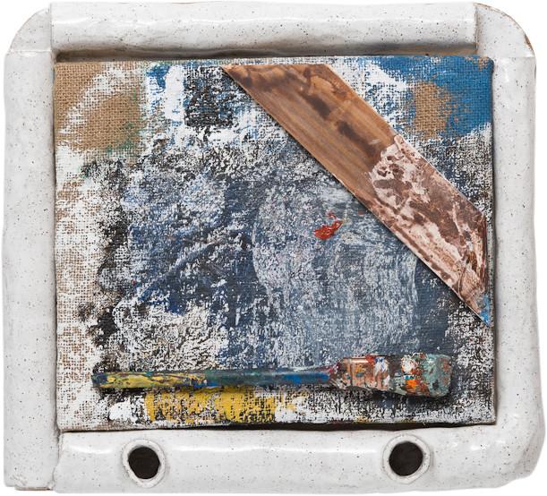 Jake Walker Assemblage, 2014; acrylic, oil, wood, paint, jute, brush, artist's glazed stoneware frame; 38 x 41 cm; enquire