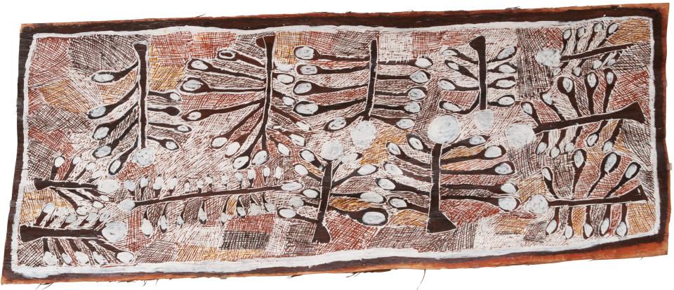 Nyapanyapa Yunupingu 3. Wild Apple Orchard, 2008; Natural earth pigments on bark 3431V; 185 x 70 cm; enquire