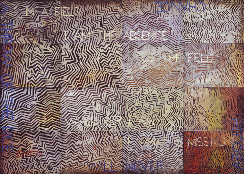 Imants Tillers Nature Speaks: FO, 2015; from the series Sung into Being; acrylic, gouache on 16 canvas boards, no. 98294 - 98309; 100 x 141 cm; enquire