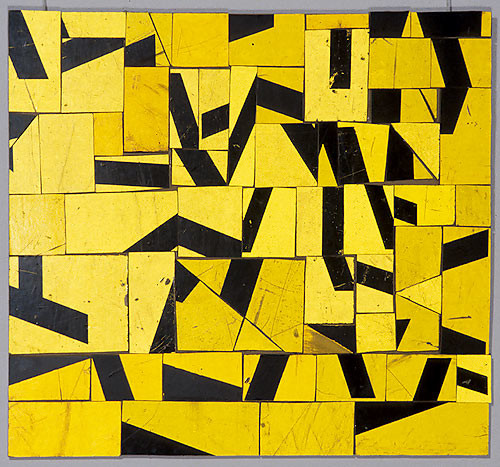 Rosalie Gascoigne Golden Bamboo, 1997; retro reflective roadsign on wood; 46 x 50 cm; enquire