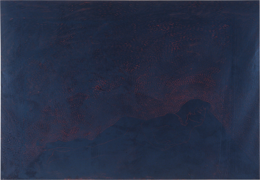 Lindy Lee Black Box, 1986; wax and oils on canvas; 152 x 190 cm; enquire