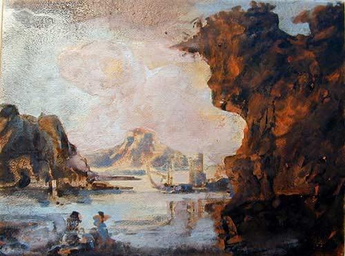 Mandy Martin Landscape with Fisherman after Salvator Rosa, 2002; pigment, ochre, hematite, mica, wax medium & acrylic binder on paper; 30 x 40 cm; enquire
