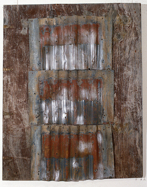 Rosalie Gascoigne Rose Red City #8, 1993; corrugated iron on wood; 117 x 120 cm; enquire
