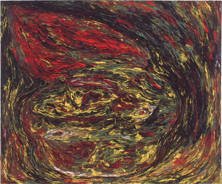 Dale Frank The birth (rubber ball burning), 1984; acrylic on canvas; 100 x 120 cm; enquire