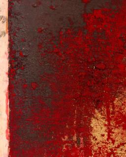 Kirtika Kain The Solar Line III (detail), 2020; Tar, gold pigment, sindoor pigment, disused silk mesh; 113 x 70 cm; enquire