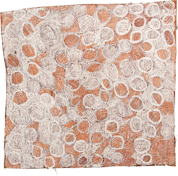 Nyapanyapa Yunupingu 34. Mangutji #8, 2010; 3906T; Natural earth pigments on bark; 77 x 83 cm; enquire