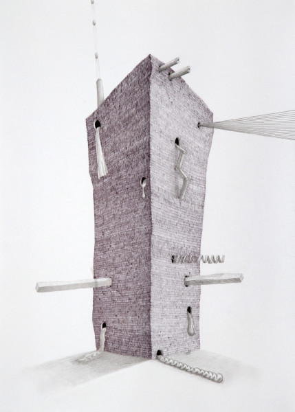 Teppei Kaneuji Tower #2, 2009; Ball-point pen & pencil on paper; 54.5 x 38 cm; enquire
