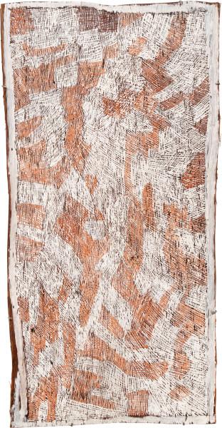Nyapanyapa Yunupingu 26. Pink and White Painting #5, 2010; 3724T; Natural earth pigments on bark; 127 x 66 cm; enquire