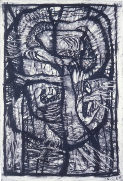 Helen Connolly In, 1986; charcoal on paper; 150 x 102 cm; enquire
