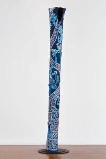 Dhambit Munuŋgurr Djapu Design (Dhambit Larrakitj), 2020; 2329-20; acrylic on eucalyptus; 370 x 50 x 40 cm; enquire