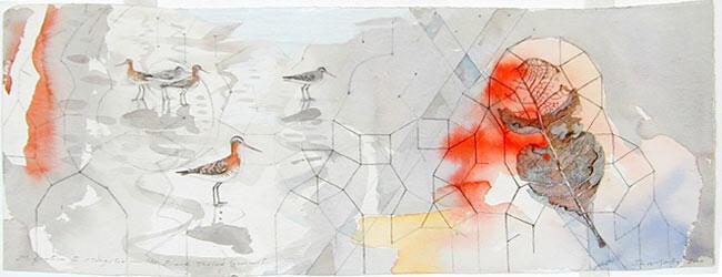 John Wolseley Migration to Mongolia- the black-tailed godwit, 2000; watercolour. on paper; 56 x 23 cm; enquire