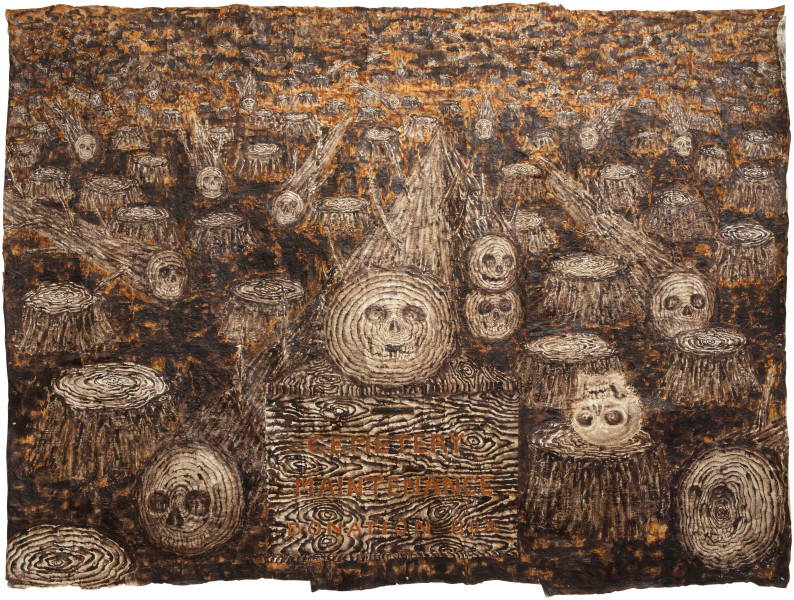 Fiona Hall Man with Long Memory, 2013; bark cloth with earth pigments and plant dyes; 220 x 285 cm; enquire