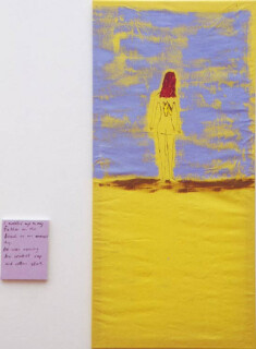 Jenny Watson Tattoo Love 1, 1998; oil on cotton, acrylic on canvas; 147.5 x 71 cm; 25 x 20 cm (smaller canvas size); enquire