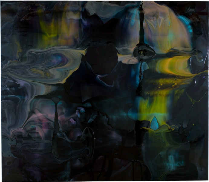 Dale Frank Overwhelmed by the thoughts and the promiscuous silence outsourced by the companionship of the incessant hum, 2008; varnish on canvas; 260 x 300 cm; enquire