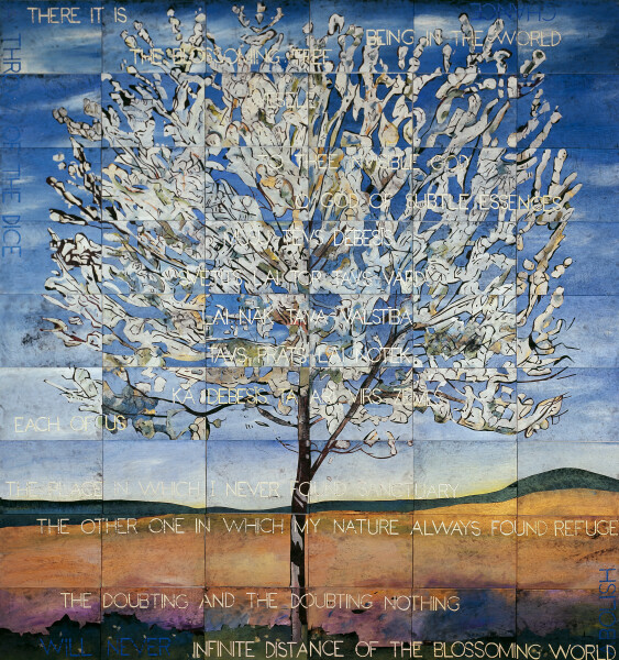 Imants Tillers The Blossoming Tree, 2017; acrylic, gouache on 54 canvas boards, no. 98784 - 98837; 226 x 212.5 cm; enquire
