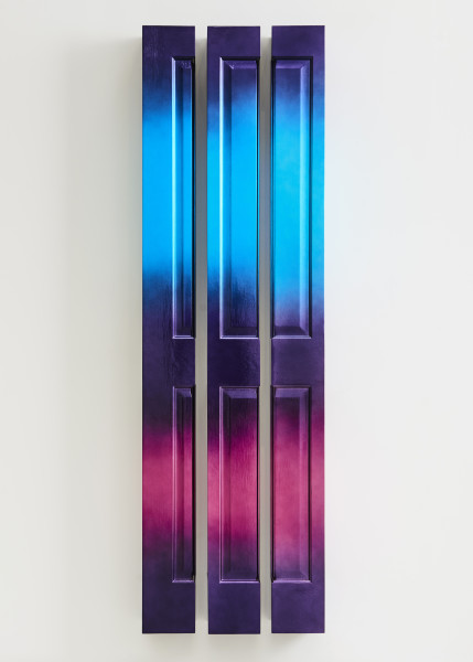 Jim Lambie Nightfall (Diamond Firetail), 2019; wooden doors, automotive paint; 3 parts, each 204 x 18 x 18 cm; overall dimensions 204 x 62 x 18cm; Enquire