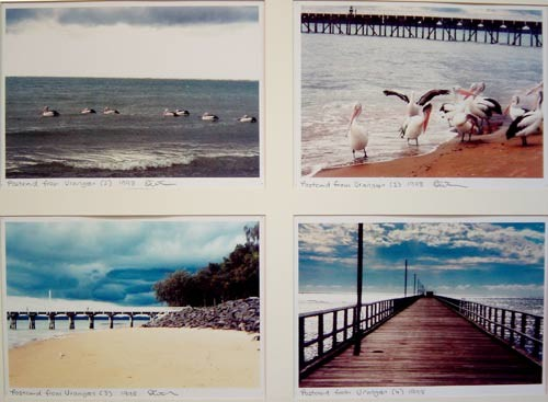Destiny Deacon Postcard from Urangan (2) (1) (3) (4), 1998; 4 colour laser prints; 20.1 x 29.7 cm; Edition of 15; enquire
