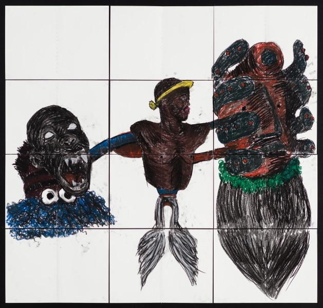 Pierre Mukeba (Cognitive Dissonance), 2021; charcoal and pastel on archival paper; 120 x 126 cm; enquire