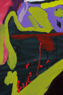 Tom Polo waiting for when/ a body invisible (detail), 2021; acrylic and Flashe on canvas; 182 x 138 cm; enquire