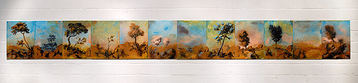 Tony Clark Sections from Clark's Myriorama, 2008; acrylic and permanent ink on canvas board; 12 panels, overall dimensions: 30 x 270 cm; enquire