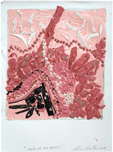Rohan Wealleans Piece of my heart, 2009; Paint on paper; 61 x 48 x 4.5 cm; Paper size: 51 x 38cm; enquire