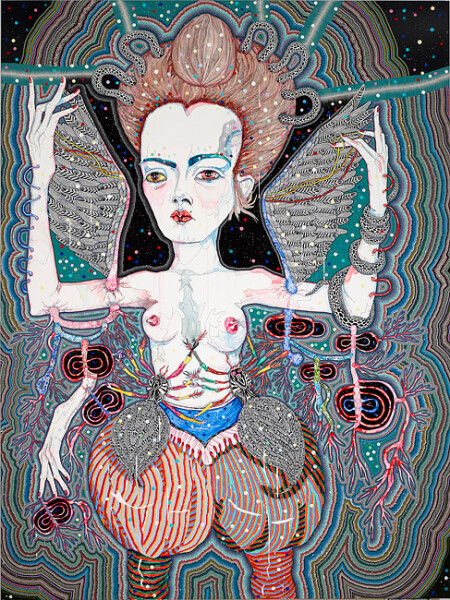 Del Kathryn Barton never could be possible, 2012; acrylic, gouache, watercolour and ink on polyester canvas; 240 x 180 cm; enquire