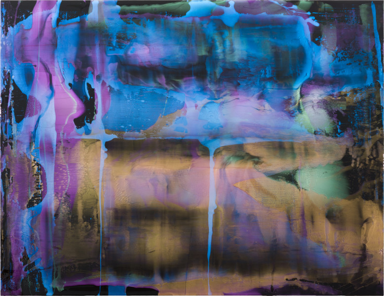 Dale Frank Why Narrandera is so interesting as a place to retire to, so many pubs and Banks for sale you could become the often spoken about royalty overnight, 2021; Colour pigment in Easycast, Epoxyglass, on Perspex; 200 x 260 cm; enquire