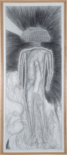 Dale Frank The Miracle and God the Father, 1982; graphite on paper; 143 x 60 cm; enquire