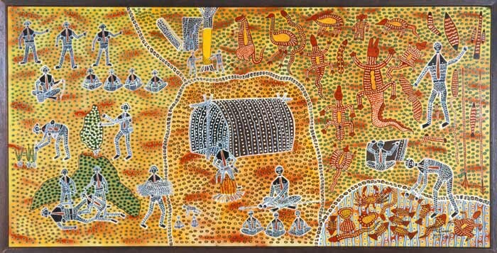 Robert Campbell Jnr Life in the Aboriginal Camp, 1989; acrylic on board; 128 x 250 cm; enquire