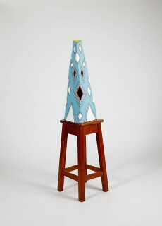 Nell NOBODY chooses where the HOLES are and nobody knows WHO I am..., 2015; The Wake No. 37; earthenware, underglaze, cobwebs, wooden stool; 140 x 38 x 45.5 cm; object: 69 x 26.5 x 30. 5 cm stool : 71 x 38 x 45.3 cm; enquire