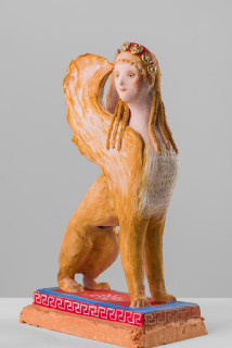 Linda Marrinon Empire sphinx, 2020; painted terracotta; 34 x 23 x 12 cm; enquire