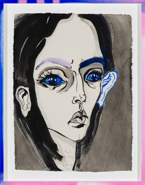 Del Kathryn Barton we sat together, 2019; gouache on paper, hand finished frame; 87 x 67.5 cm; enquire