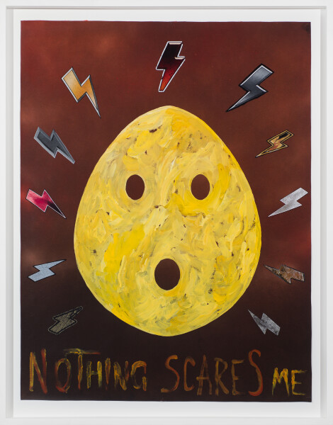 Nell NOTHING SCARES ME, 2018; acrylic paint and mixed media on canvas; 97.4 x 76.4 cm; Enquire